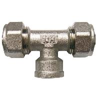 Assainissement (tuyau - Drain - Raccord) Raccord a Compression Multicouche - En Te - Femelle au Centre - D 26 Taraudage 34