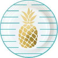 Assiette Jetable AMSCAN 8 Assiettes Ananas 23 cm