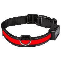 Attache - Sellerie Collier lumineux Light Collar USB rechargeable S - Rouge - Pour chien