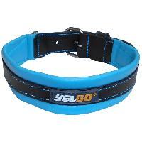 Attache - Sellerie YAGO Collier en Cuir Noir et Bleu Souple et Réglable pour grand chien. taille L 43-52 cm