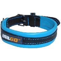 Attache - Sellerie YAGO Collier en Cuir Noir et Bleu Souple et Réglable pour moyen chien. taille M 34-43 cm