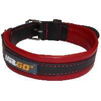 Attache - Sellerie YAGO Collier en Cuir Noir et Rouge Souple et Réglable pour moyen chien. taille M 34-43 cm
