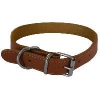 Attache - Sellerie YAGO Collier en cuir Souple et Réglable pour moyen chien. taille M 34-40cm. Coloris Marron