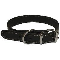 Attache - Sellerie YAGO Collier en cuir Souple et Réglable pour petit chien. taille S 26-32 cm. Coloris Noir