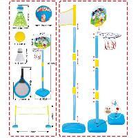 Attache Sucette - Boite A Sucette MGM 2 raquettes de badminton + 2 volants + filet + balles de basket. tennis et volley + pompe