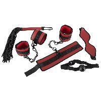 Attacher Ensemble Bondage 5 pieces rouge et noir