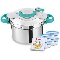 Autocuiseur - Cocotte Minute SEB P4620722 Clipso Minut MyBaby Autocuiseur 6 L + livret recettes bébé + 4 boîtes Masterseal Fresh 250 ml