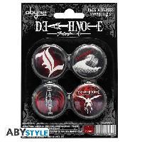 Badges - Pin's 4 badges Death Note - Symbols 2 - D38 mm