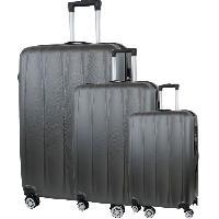 Bagages CITY BAG 03 Set de 3 Valises Trolley Rigide ABS - 8 Roues - 50-60-70 cm - Gris foncé