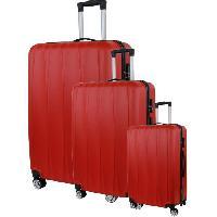 Bagages CITY BAG 03 Set de 3 Valises Trolley Rigide ABS - 8 Roues - 50-60-70 cm - Rouge