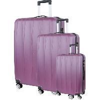 Bagages CITY BAG 03 Set de 3 Valises Trolley Rigide ABS - 8 Roues - 50-60-70 cm - Rouge bordeaux
