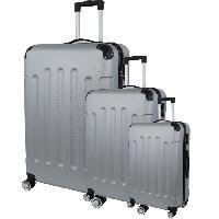 Bagages CITY BAG 06 Set de 3 Valises Trolley Rigide ABS - 8 Roues - 50-60-70 cm - Argent