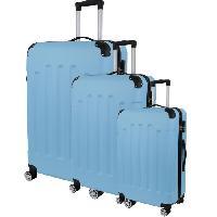 Bagages CITY BAG 06 Set de 3 Valises Trolley Rigide ABS - 8 Roues - 50-60-70 cm - Bleu ciel