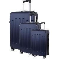 Bagages CITY BAG 06 Set de 3 Valises Trolley Rigide ABS - 8 Roues - 50-60-70 cm - Bleu marine