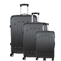 Bagages CITY BAG 06 Set de 3 Valises Trolley Rigide ABS - 8 Roues - 50-60-70 cm - Gris foncé