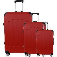 Bagages CITY BAG 06 Set de 3 Valises Trolley Rigide ABS - 8 Roues - 50-60-70 cm - Rouge