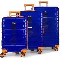 Bagages DANIEL HECHTER Set de 3 Valises Trolley DHV0001 Rigide Polycarbonate - 8 Roues - 50-60-70 cm - Bleu marine