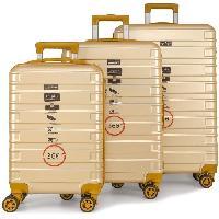 Bagages DANIEL HECHTER Set de 3 Valises Trolley DHV0001 Rigide Polycarbonate - 8 Roues - 50-60-70 cm - Champagne