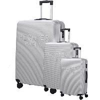 Bagages DANIEL HECHTER Set de 3 Valises Trolley DHVDEAUVILLE Rigide ABS - 8 Roues - Cadenas TSA - 50-60-70 cm - Argent