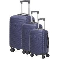 Bagages DANIEL HECHTER Set de 3 Valises Trolley DHVDEAUVILLE Rigide ABS - 8 Roues - Cadenas TSA - 50-60-70 cm - Bleu marine