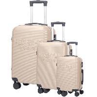 Bagages DANIEL HECHTER Set de 3 Valises Trolley DHVDEAUVILLE Rigide ABS - 8 Roues - Cadenas TSA - 50-60-70 cm - Champagne