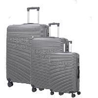 Bagages DANIEL HECHTER Set de 3 Valises Trolley DHVDEAUVILLE Rigide ABS - 8 Roues - Cadenas TSA - 50-60-70 cm - Gris foncé