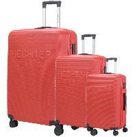 Bagages DANIEL HECHTER Set de 3 Valises Trolley DHVDEAUVILLE Rigide ABS - 8 Roues - Cadenas TSA - 50-60-70 cm - Rouge