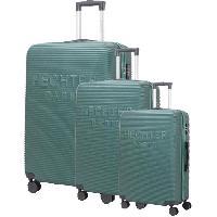 Bagages DANIEL HECHTER Set de 3 Valises Trolley DHVDEAUVILLE Rigide ABS - 8 Roues - Cadenas TSA - 50-60-70 cm - Vert