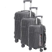 Bagages DANIEL HECHTER Set de 3 Valises Trolley DHVSTTROPEZ Rigide ABS - 8 Roues - Cadenas TSA - 50-60-70 cm - Noir