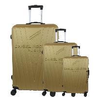 Bagages DANIEL HECHTER Set de 3 Valises Trolley DHVSTTROPEZ Rigide ABS - 8 Roues - Cadenas TSA - 50-60-70 cm - Or