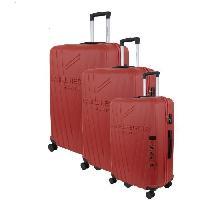 Bagages DANIEL HECHTER Set de 3 Valises Trolley DHVSTTROPEZ Rigide ABS - 8 Roues - Cadenas TSA - 50-60-70 cm - Rouge