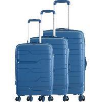 Bagages FRANCE BAG Set de 3 Valises 8 Roues Multidirectionnelles Polypropylene Bleu Marine