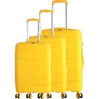 Bagages FRANCE BAG Set de 3 Valises 8 Roues Multidirectionnelles Polypropylene Jaune