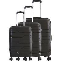 Bagages FRANCE BAG Set de 3 Valises 8 Roues Multidirectionnelles Polypropylene Noir