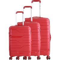 Bagages FRANCE BAG Set de 3 Valises 8 Roues Multidirectionnelles Polypropylene Rouge Bordeaux