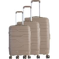 Bagages FRANCE BAG Set de 3 Valises 8 Roues Multidirectionnelles Polypropylene Taupe