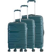 Bagages FRANCE BAG Set de 3 Valises 8 Roues Multidirectionnelles Polypropylene Vert Anglais