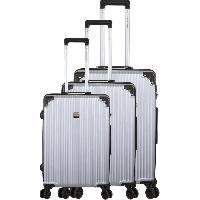 Bagages FRANCE BAG Set de 3 Valises 8 roues Multidirectionnelles ABS Gris
