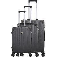 Bagages FRANCE BAG Set de 3 Valises 8 roues Multidirectionnelles ABS Noir