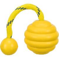 Balle - Frisbee Balle ondulee sur corde Sporting en caoutchouc naturel - D7 cm x 22 cm - Pour chien