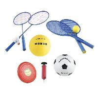 Ballon De Football MONDO - Set Multisport Jeux de plage 5 en 1 -Badminton. Tennis. Volley. Football. Freesbee-