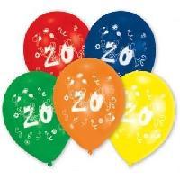 Ballon Decoratif  Et Pompe 10 Ballons - Latex - Chiffre 20