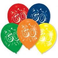 Ballon Decoratif  Et Pompe 10 Ballons - Latex - Chiffre 60