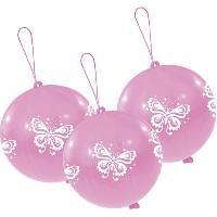 Ballon Decoratif  Et Pompe 3 Punchballs - Papillons - Rose