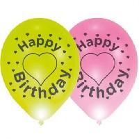 Ballon Decoratif  Et Pompe 4 ballons avec LED - Latex - Happy Birthday