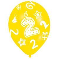 Ballon Decoratif  Et Pompe 6 Ballons - Latex - Bougie chiffre 2 - Imprime tous cotes