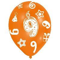 Ballon Decoratif  Et Pompe 6 Ballons - Latex - Bougie chiffre 9 - Imprime tous cotes