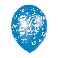 Ballon Decoratif  Et Pompe 6 Ballons - Latex - Bougie nombre 18 - Imprime tous cotes