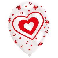Ballon Decoratif  Et Pompe 6 Ballons - Latex - Coeurs - Imprime tous cotes - Rouge et blanc