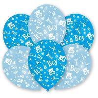 Ballon Decoratif  Et Pompe 6 Ballons - Latex - It's a Boy - Imprime tous cotes